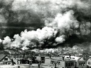 Black and white picture of the Great Chelsea Fire in 1908