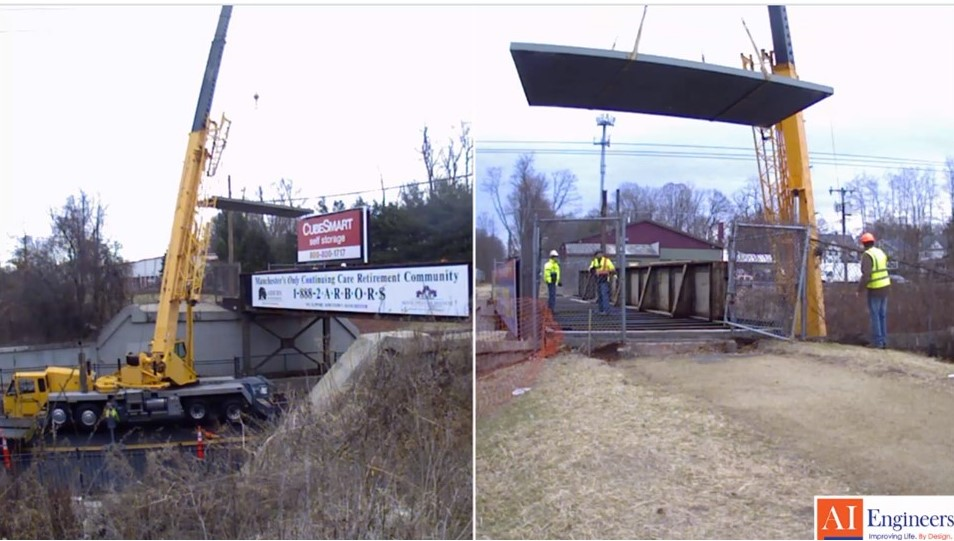 FRP bridge deck being installed for the rail-trail