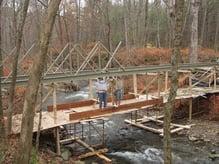 95' Fiberglass Bridge Span Built Using Scaffolding