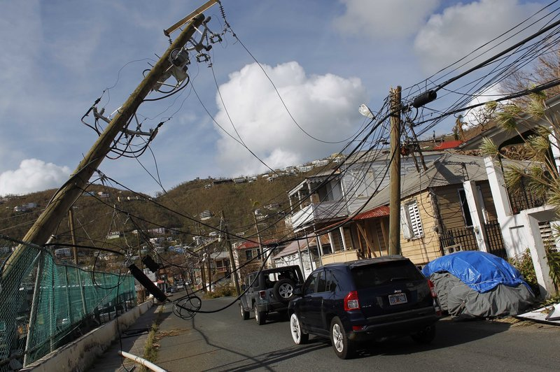 US Virgin Islands power poles damaged in hurricane