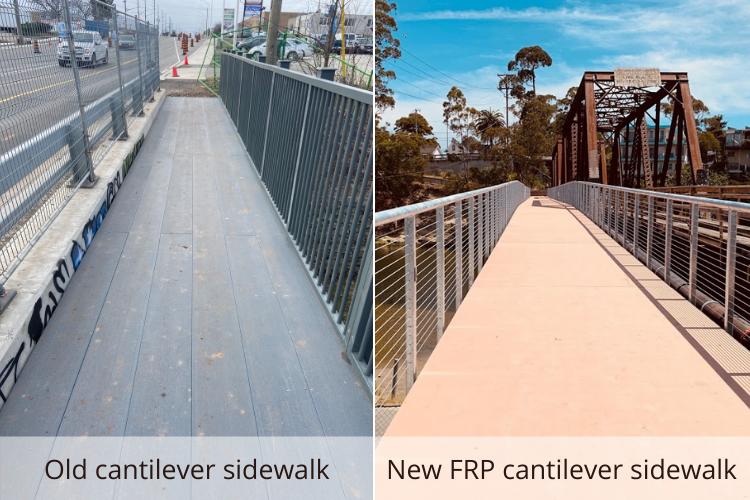 Lightweight FRP Cantilevered Sidewalks Give Bicyclists and Pedestrians Safe Passage
