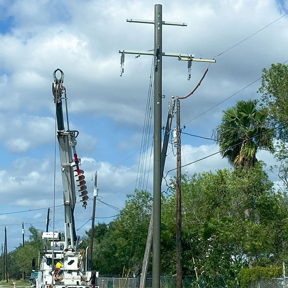 Storm Hardening Utility Poles Install